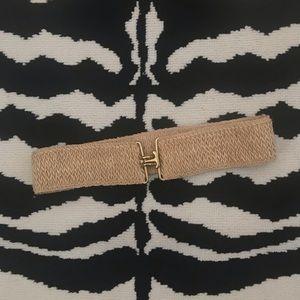 Vintage Jute Woven Wide Waist Belt Brass Hardware